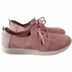 Toms Travel Lite Pink Suede Laser Cut Sneakers 9